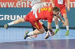 Nemanja Pribak of Macedonia during handball match between National teams of Macedonia and Czech Republic on Day 6 in Main Round of Men's EHF EURO 2018, on January 23, 2018 in Arena Varazdin, Varazdin, Croatia. Photo by Mario Horvat / Sportida
