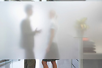 Male office worker talking to female colleague behind translucent wall in office