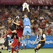 Orlando goalkeeper Miguel Gallardo makes a save during an International Friendly soccer match between English Premier League team Newcastle United and the Orlando City Lions of the United Soccer League, at the Florida Citrus Bowl on Saturday, July 23, 2011 in Orlando, Florida. Orlando won the match 1-0. (AP Photo/Alex Menendez)