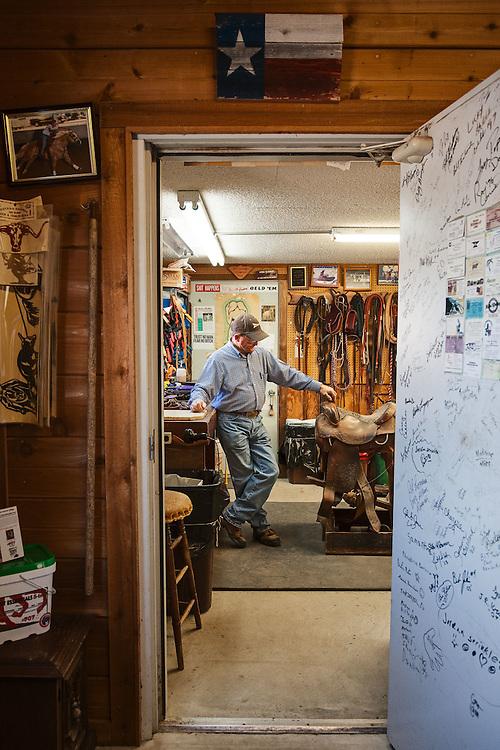 Skeeter Sprinkles, saddlemaker, of Skeeter's Saddle House in Manor, Texas