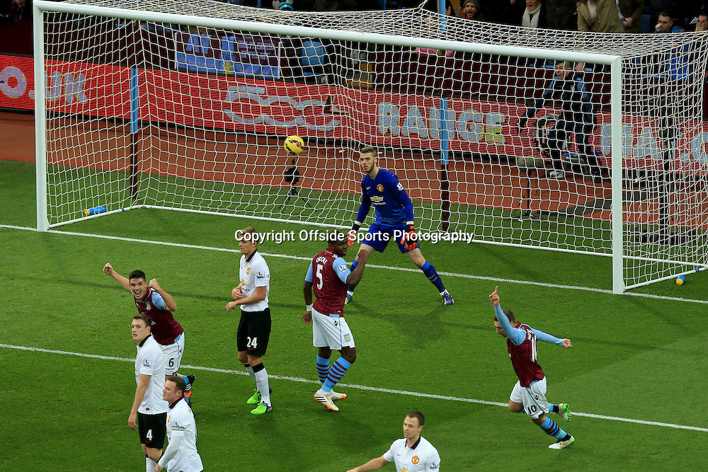 20 December 2014 - Barclays Premier League - Aston Villa v Manchester United - Manchester United goalkeeper, David de Gea is rooted to his line as Christian Benteke of Aston Villa scores the opening goal - Photo: Marc Atkins / Offside.