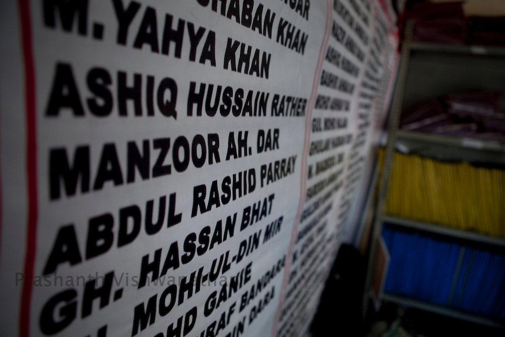Names and files of missing people at an NGOSeptember 2011, Kashmir, India. Photographer: Prashanth Vishwanathan