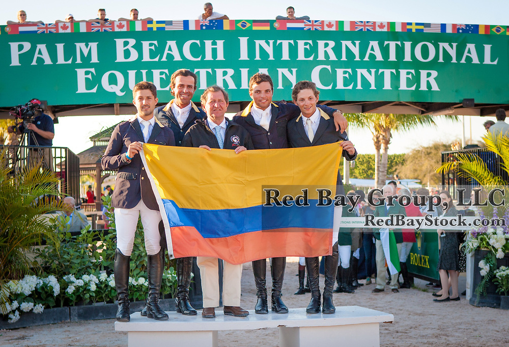 Team Colombia at the 2014 Furusiyya FEI Nations Cup held during the Winter Equestrian Festival in Wellington, Florida.