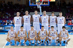 Team of Serbia before the basketball match at 1st Round of Eurobasket 2009 in Group C between Spain and Serbia, on September 07, 2009 in Arena Torwar, Warsaw, Poland. (Photo by Vid Ponikvar / Sportida)
