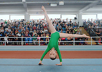 20 Aug 2016: Lyla Grier, from Donegal, peforms in the U9 Gymnastics.   2016 Community Games National Festival 2016.  Athlone Institute of Technology, Athlone, Co. Westmeath. Picture: Caroline Quinn
