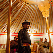 Mongolia. party and diner in a yurt  in terelg , with french and mongolian writers