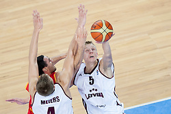 Mareks Mejeris #5 of Latvia during basketball match between National teams of Latvia and Belgium in 2nd Round at Day 12 of Eurobasket 2013 on September 14, 2013 in SRC Stozice, Ljubljana, Slovenia. (Photo By Urban Urbanc / Sportida)