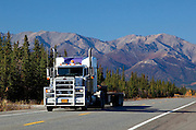 Alaska. Semi-truck approaching on the Parks Highway.