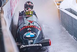 18.01.2020, Olympia Eiskanal, Innsbruck, AUT, BMW IBSF Weltcup Bob und Skeleton, Igls, Bob Zweisitzer, Herren 1. Lauf, im Bild Benjamin Maier, Markus Sammer (AUT) // Benjamin Maier Markus Sammer of Austria in action during his 1st run of men's doubles Bobsleigh of BMW IBSF World Cup at the Olympia Eiskanal in Innsbruck, Austria on 2020/01/18. EXPA Pictures © 2020, PhotoCredit: EXPA/ Stefan Adelsberger