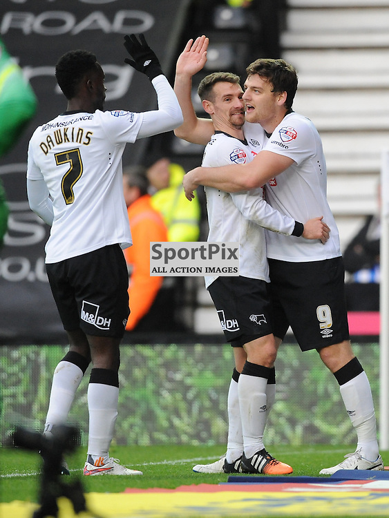 Derby Chris Martin celebrates his Second Goal, Derby v Brighton Hove Albion, Championship. Saturday 6th December 2014