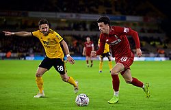WOLVERHAMPTON, ENGLAND - Monday, January 7, 2019: Wolverhampton Wanderers' João Moutinho (L) and Liverpool's Curtis Jones (R) during the FA Cup 3rd Round match between Wolverhampton Wanderers FC and Liverpool FC at Molineux Stadium. (Pic by David Rawcliffe/Propaganda)