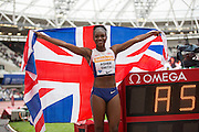 Dina Asher-Smith of Great Britain after the Woman 100m during the Sainsbury's Anniversary Games at the Queen Elizabeth II Olympic Park, London, United Kingdom on 25 July 2015. Photo by Phil Duncan.