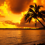 Spectacular fiery sunrise on Kauai, the Garden Isle, Hawaii.