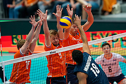 11-08-2019 NED: FIVB Tokyo Volleyball Qualification 2019 / Netherlands - USA, Rotterdam<br /> Final match pool B in hall Ahoy between Netherlands vs. United States (1-3) and Olympic ticket  for USA / Gijs van Solkema #15 of Netherlands, Luuc van der Ent #5 of Netherlands, Thijs Ter Horst #4 of Netherlands