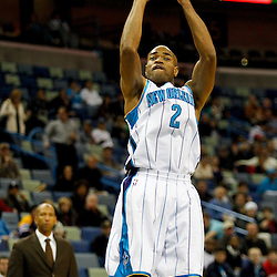 January 4, 2012; New Orleans, LA, USA; New Orleans Hornets point guard Jarrett Jack (2) shoots against the Philadelphia 76ers during the first half of a game at the New Orleans Arena.   Mandatory Credit: Derick E. Hingle-US PRESSWIRE