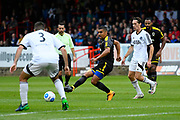 Kwesi Appiah (9) of AFC Wimbledon on the attack during the Pre-Season Friendly match between Aldershot Town and AFC Wimbledon at the EBB Stadium, Aldershot, England on 28 July 2017. Photo by Graham Hunt.