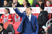 England women's manager Phil Neville pointing during the FIFA Women's World Cup UEFA Qualifier match between England Ladies and Wales Women at the St Mary's Stadium, Southampton, England on 6 April 2018. Picture by Graham Hunt.