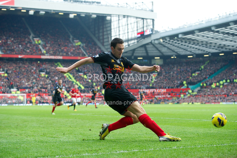 MANCHESTER, ENGLAND - Sunday, January 13, 2013: Liverpool's Stewart Downing in action against Manchester United during the Premiership match at Old Trafford. (Pic by David Rawcliffe/Propaganda)