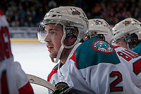 KELOWNA, CANADA - APRIL 5: Jesse Lees #2 of the Kelowna Rockets stands on the bench opposite the Seattle Thunderbirds on April 5, 2014 during Game 2 of the second round of WHL Playoffs at Prospera Place in Kelowna, British Columbia, Canada.   (Photo by Marissa Baecker/Getty Images)  *** Local Caption *** Jesse Lees;