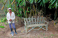 Worker and bench in Parque Nacional la Guira, Pinar del Rio Province, Cuba.