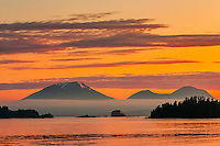Sitka, Alaska USA (on Baranof Island) with Mt. Edgecumbe (on Kruzof Island) in background.