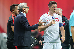 September 1, 2017 - Copenhagen, Denmark - Robert Lewandowski (POL), Trener Adam Nawalka (POL),  during the FIFA 2018 World Cup Qualifier between Denmark and Poland at Parken Stadion on September 1, 2017 in Copenhagen. (Credit Image: © Foto Olimpik/NurPhoto via ZUMA Press)
