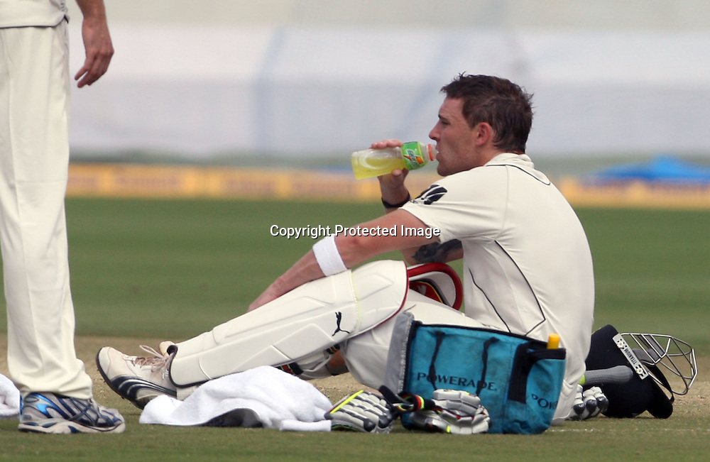New Zealand batsman Brendon McCullum in a drink break during the 2nd test match Indian vs New Zealand day-4 Played at Rajiv Gandhi International Stadium, Uppal, Hyderabad, 15 November 2010 (5-day match)