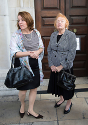 © Licensed to London News Pictures. 16/05/2012. London, UK. Rosemarie Colvin (right), mother of Marie Colvin arriving at St Martin in the Fields church, London for a memorial service held for American Sunday Times journalist Marie Colvin, who died covering the siege of Homs in Syria.  Photo credit : Ben Cawthra/LNP