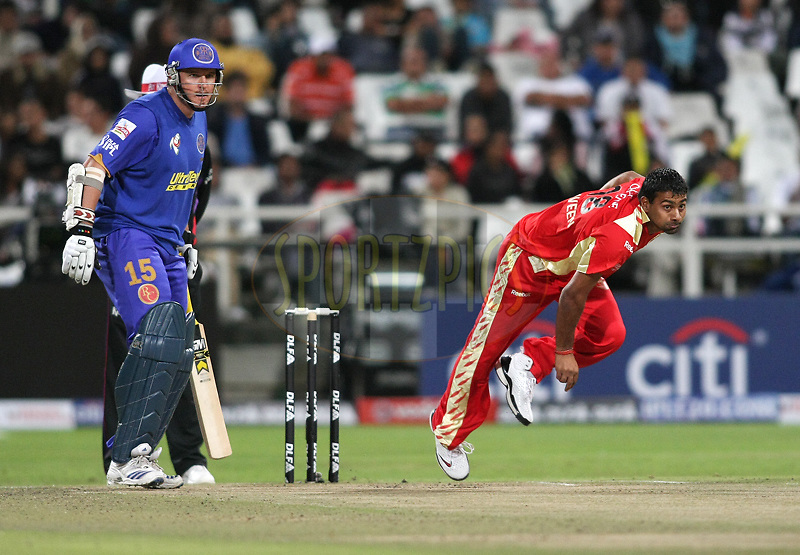 CAPE TOWN, SOUTH AFRICA - 18 April 2009. Graeme Smith look on as Praveen Kumar bowls during the  IPL Season 2 match between the Rajastan Royals and the  Royal Challengers Bangalore held at Sahara Park Newlands in Cape Town, South Africa..