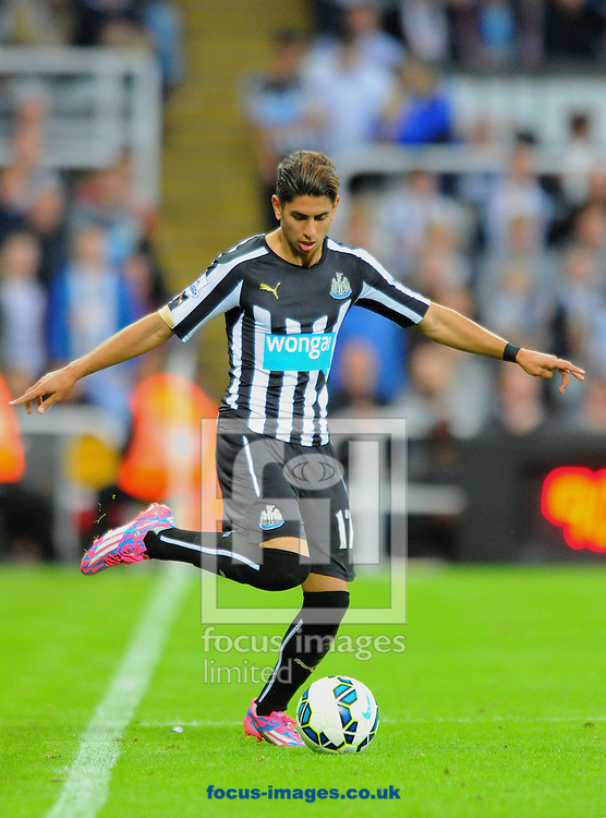 Ayoze Perez of Newcastle United passes the ball during the Barclays Premier League match at St. James's Park, Newcastle<br /> Picture by Greg Kwasnik/Focus Images Ltd +44 7902 021456<br /> 18/10/2014