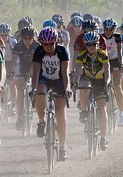 The women's division II road race hits the gravel section of the course.  The 2007 USA Cycling Collegiate Road Championship road race was held at Lake Perry, Kansas on May 12, 2007.  The Women's Division 1 and 2 races completed two laps of the course for a total of approximately 58 miles while the Men's races did three laps for approximately 87 miles.