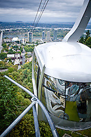 Photographs of lifestyle on the South Waterfront area of Portland, Oregon. Aerial Tram connecting OHSU with the South Waterfront.