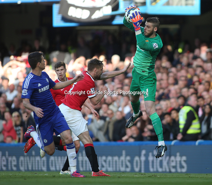 18 April 2015 - Barclays Premier League - Chelsea v Manchester United - Man United goalkeeper David De Gea catches the ball.<br /> <br /> <br /> Photo: Ryan Smyth/Offside