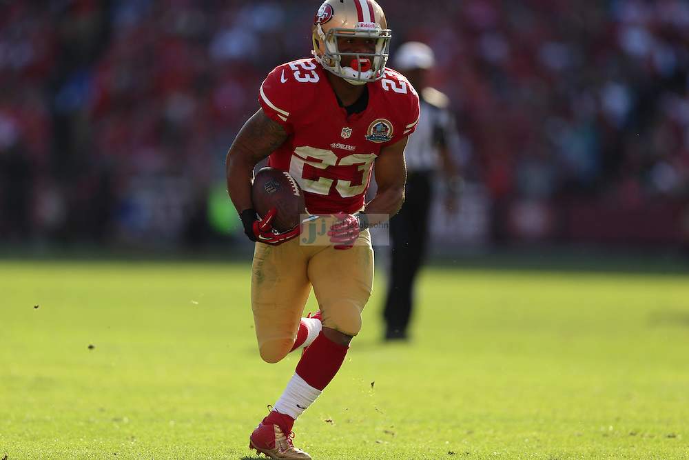 San Francisco 49ers running back LaMichael James (23) in action against the Miami Dolphins during an NFL game at Candlestick Park on December 9, 2012 in San Francisco, CA.  (Photo by Jed Jacobsohn)