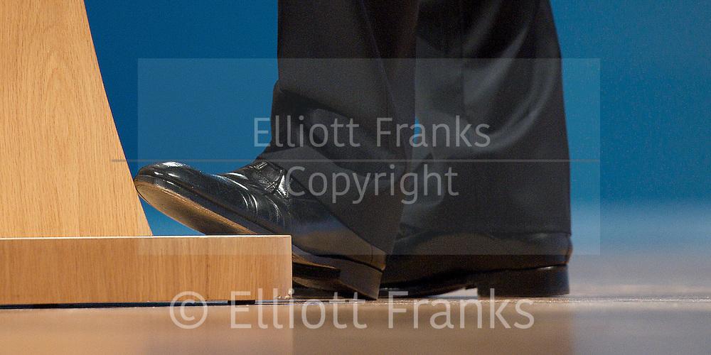 Conservative Party Conference, ICC, Birmingham, Great Britain <br /> 10th October 2012 <br />  Day 4<br /> <br /> Rt Hon David Cameron MP <br /> Prime minister <br /> keynote speech <br /> <br /> shoes <br /> <br /> Photograph by Elliott Franks<br /> <br /> United Kingdom<br /> Tel 07802 537 220 <br /> elliott@elliottfranks.com<br /> <br /> ©2012 Elliott Franks<br /> Agency space rates apply