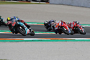 #20 Fabio Quatararo, French: Petronas Yamaha SRT leads #43 Jack Miller, Australian: Alma Pramac Racing Ducati and #4 Andrea Dovizioso, Italian: Mission Winnow Ducati Team during the Gran Premio Motul de la Comunitat Valenciana at Circuito Ricardo Tormo Cheste, Valencia, Spain on 17 November 2019.