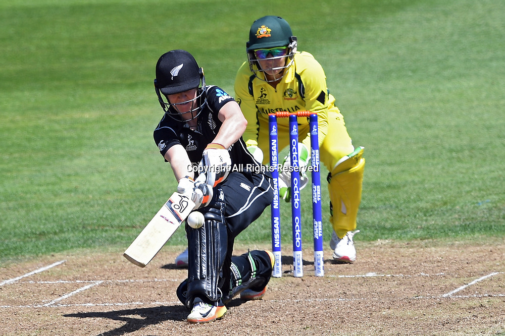 July 2nd 2017, The Brightside Ground, Bristol, England; ICC Womens World Cup; Australia Women versus New Zealand Women; Katie Perkins of New Zealand sweeps the ball for 4