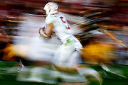 Stanford Cardinal running back Christian McCaffrey (5) carries the ball against the Iowa Hawkeyes' defense on Friday January 1, 2016 at 102nd Rose Bowl in Pasadena, Calif. Stanford won 45-16. (Michael Yanow/National Football League)