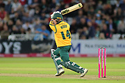 Luke Wood of Nottinghamshire Outlaws driving through the covers during the Vitality T20 Blast North Group match between Nottinghamshire County Cricket Club and Worcestershire County Cricket Club at Trent Bridge, West Bridgford, United Kingdon on 18 July 2019.