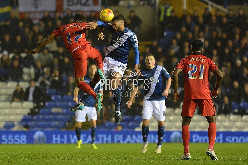 Birmingham City midfielder David Davis and Blackburn Rovers midfielder Lee Williamson challenge for a header during the Sky Bet Championship match between Birmingham City and Blackburn Rovers at St Andrews, Birmingham, England on 3 November 2015. Photo by Alan Franklin.