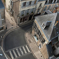 Bird's view on some roofs and a pedestrians zebra crossing in the old city centre of Blois on the Loire River.