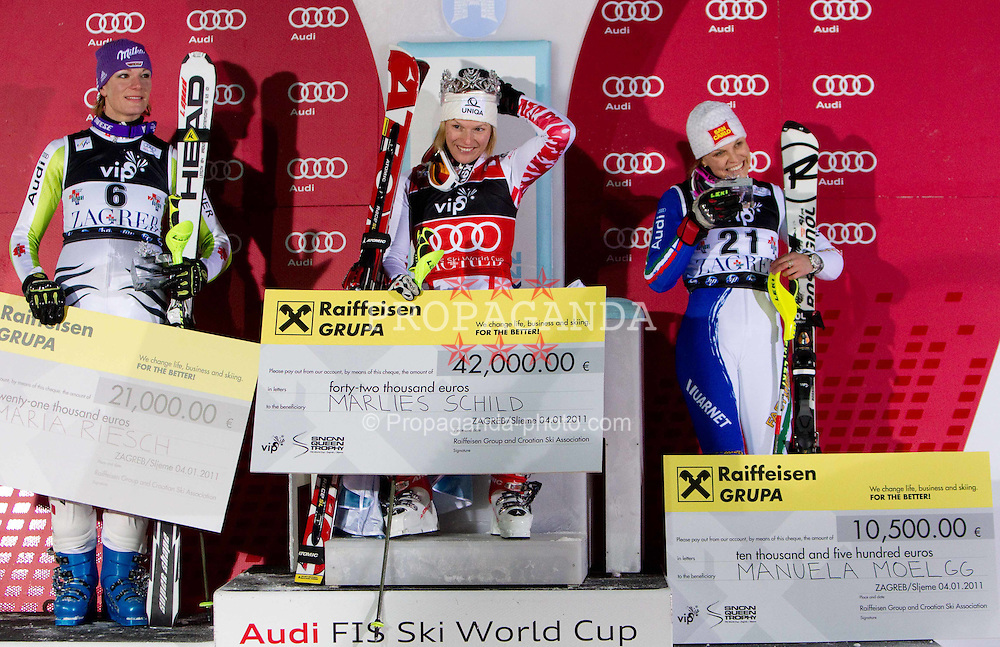 04.01.2011, Snow Queen Trophy, Sljeme, Zagreb, CRO, FIS World Cup Ski Alpin, Ladies, Slalom, at Picture  second placed SCHILD Marlies (AUT), winner SCHILD Marlies (AUT) and third placed MOELGG Manuela (ITA) celebrate at flower ceremony, EXPA Pictures © 2011, PhotoCredit: EXPA/ Sportida/ V. Ponikvar *** ATTENTION *** SLOVENIA OUT!