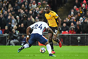 Newport County Forward Frank Nouble (10) and Tottenham Hotspur Defender Serge Aurier (24) battle for the ball during the The FA Cup 4th round replay match between Tottenham Hotspur and Newport County at Wembley Stadium, London, England on 7 February 2018. Picture by Stephen Wright.
