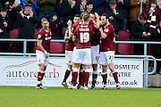 The Cobblers celebrate during the Sky Bet League 2 match between Northampton Town and Morecambe at Sixfields Stadium, Northampton, England on 23 January 2016. Photo by Dennis Goodwin.