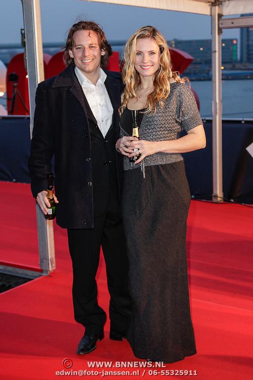 NLD/Amsterdam/20120404 - Opening filmmuseum Eye, Cas Jansen en partner Annelieke Bouwers