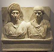 Marble tombstone of the doctor Claudius Agathemerus and his wife Myrtale.  Rome circa 100 AD.