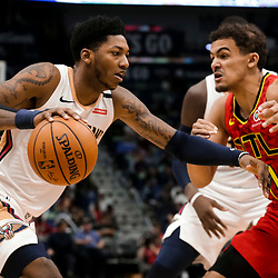 Mar 26, 2019; New Orleans, LA, USA; New Orleans Pelicans guard Elfrid Payton (4) drives past Atlanta Hawks guard Trae Young (11) during the second half at the Smoothie King Center. Mandatory Credit: Derick E. Hingle-USA TODAY Sports