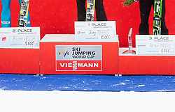 Second placed Rune Velta of Norway, winner Jurij Tepes of Slovenia and third placed Peter Prevc of Slovenia during trophy ceremony after the Flying Hill Individual Event at 4th day of FIS Ski Jumping World Cup Finals Planica 2013, on March 24, 2013, in Planica, Slovenia. (Photo by Vid Ponikvar / Sportida.com)