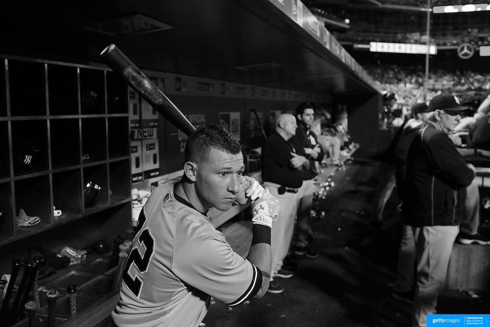 Slade Heathcott, New York Yankees, preparing to bat in the dugout during the New York Mets Vs New York Yankees MLB regular season baseball game at Citi Field, Queens, New York. USA. 18th September 2015. Photo Tim Clayton