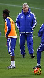 © Licensed to London News Pictures. 22/12/2015. London, UK. Chelsea football club interim manager Guus Hiddink (R) takes a training session at the club's Cobham ground. Photo credit: Peter Macdiarmid/LNP